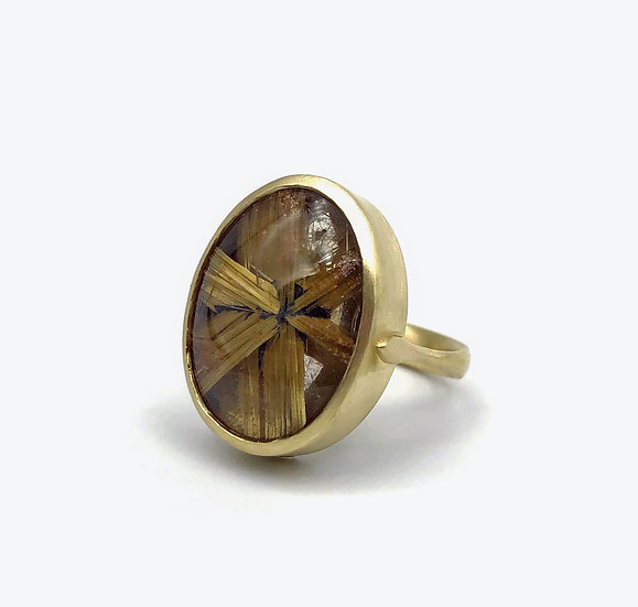 Large Oval Star Rutilated Quartz Ring in 18k Recycled Yellow Gold