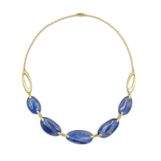 Blue Kyanite Ovals Necklace | 18k Recycled Yellow Gold | 16 in