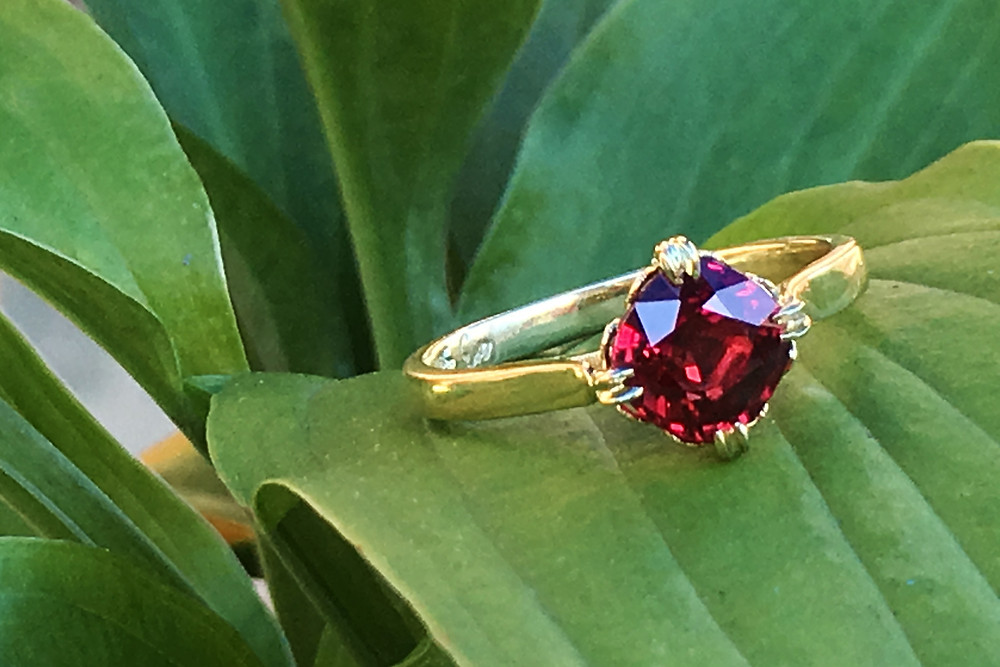 Custom Designed Engagement Ring in 18k Yellow Gold with Cushion Cut Ruby