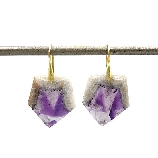 Natural Amethyst Hexagon Earrings in 18k Recycled Yellow Gold