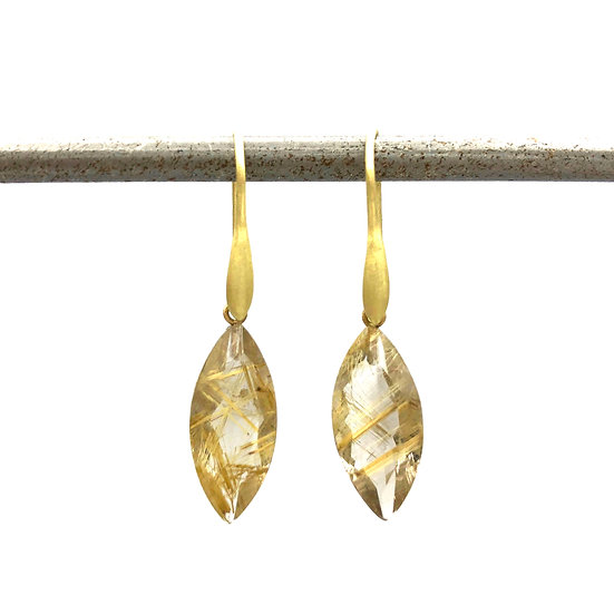 Marquise Gold Rutilated Quartz Drop Earrings in 18k Recycled Yellow Gold
