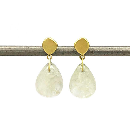 Rock Crystal Quartz Drop Earrings with 18k Recycled Yellow Gold Stud