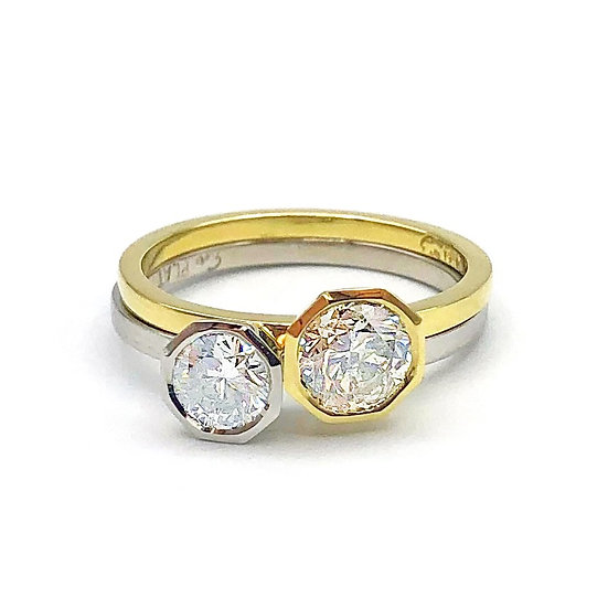 Stacking Engagement Ring Set with Octagon Bezel in 18k Yellow Gold and Platinum