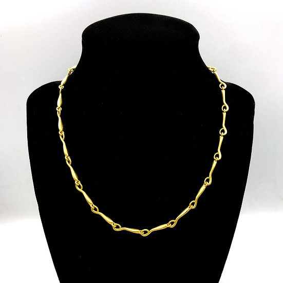 Handmade Chain Amazon Link Necklace in 18k Recycled Yellow Gold 16 inches
