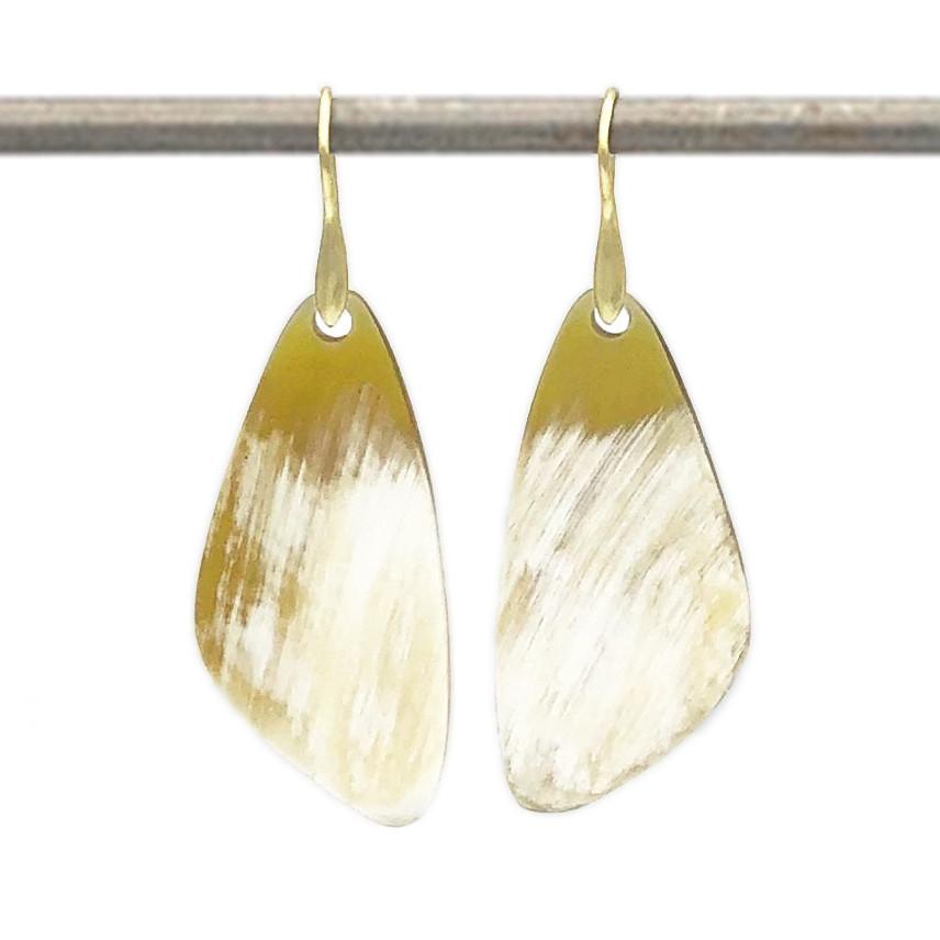 Water Buffalo Horn Earrings in 18k Yellow Gold