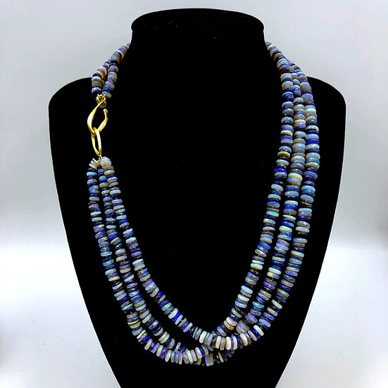 Australian Blue Opal Triple -Strand Candy Necklace in 18k Recycled Yellow Gold 18 inches