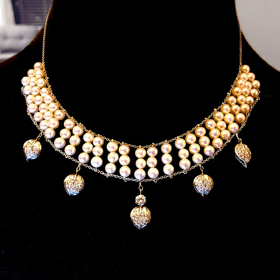 Bespoke Pearl Wedding Bib Necklace Using Heirloom Diamonds and Heirloom Diamond Pavé Leaves