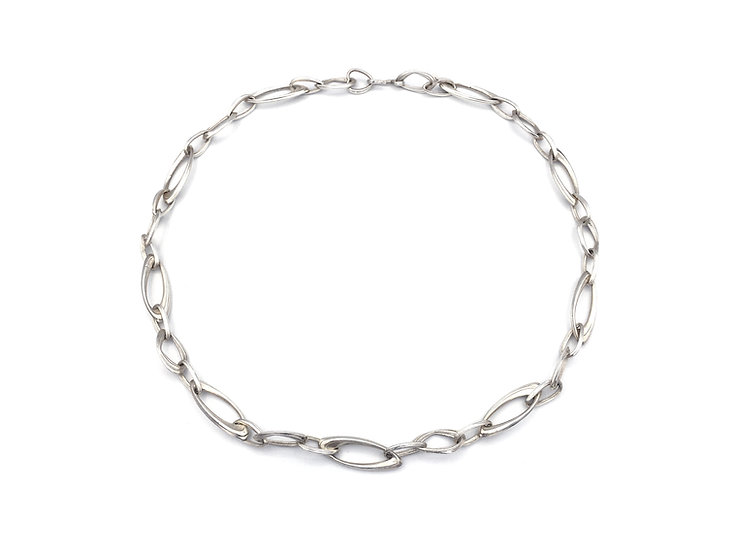 Handmade Silver Chain Azores Link Necklace | Sterling Silver | 22 in