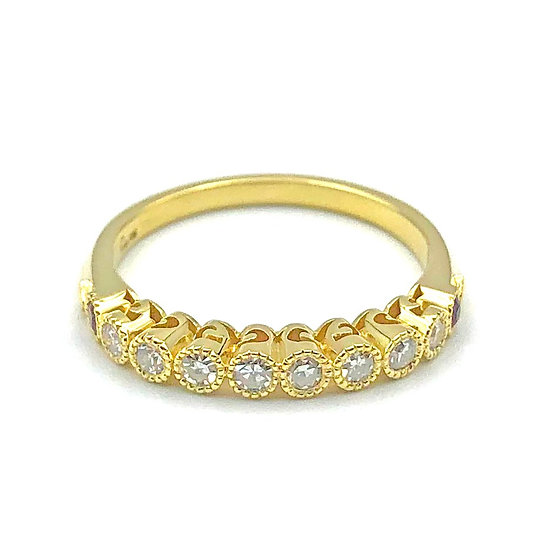 Bespoke Diamond Band with Ruby, Milgrain, and Cutout Detail, Heirloom Jewelry Redesign