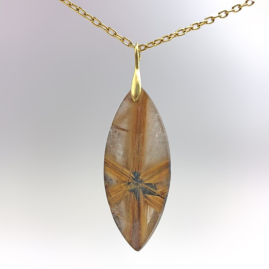 Large Star Rutilated Quartz Pendant | 18k Recycled Yellow Gold