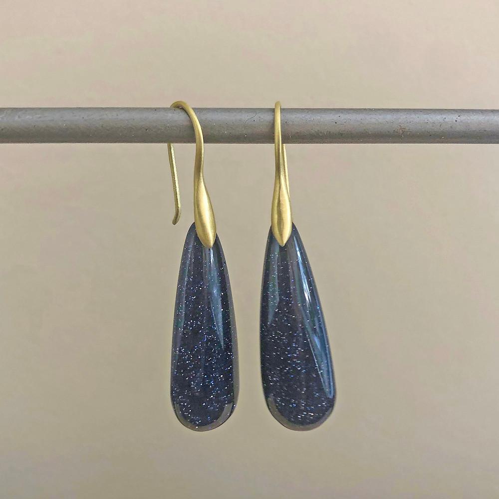 Blue Goldstone Earrings | 18k Yellow Gold