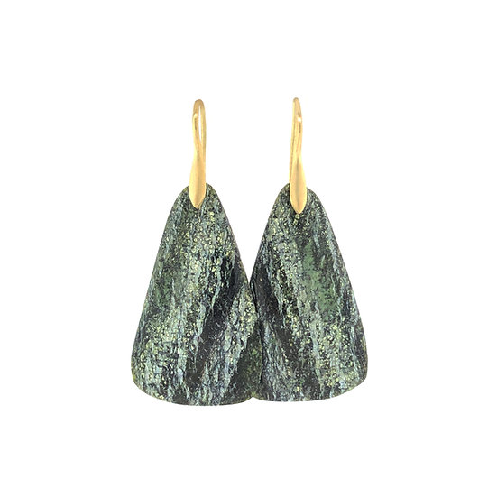 Green Chrysotile Earrings | 18k Recycled Yellow Gold