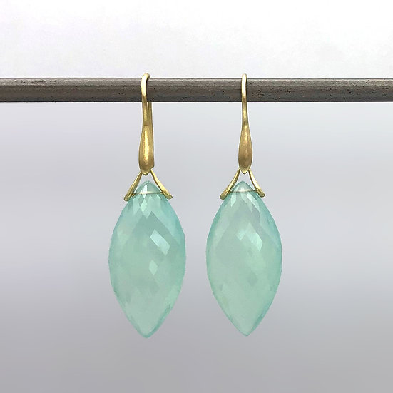 Blue Chalcedony Marquise Trapeze Earrings in 18k Recycled Yellow Gold