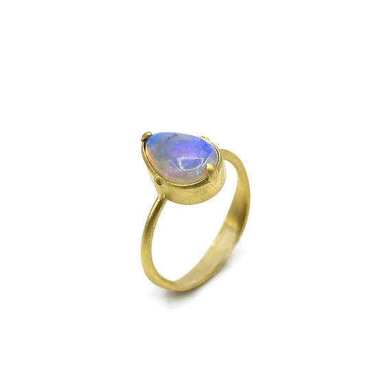 Australian Jelly Opal Pear-Shaped Ring in 18k Recycled Yellow Gold