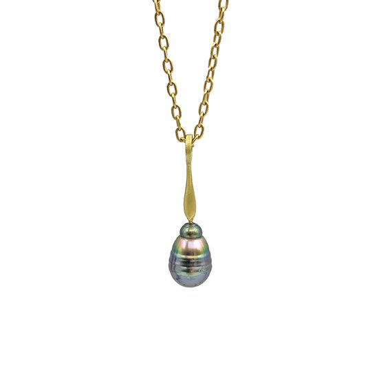 Purple Rainbow Tahitian Pearl Pendant | 18k Recycled Yellow Gold | 10mm Pearl