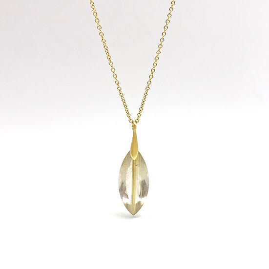 Gold Rutilated Quartz Marquise Necklace in 18k Recycled Yellow Gold