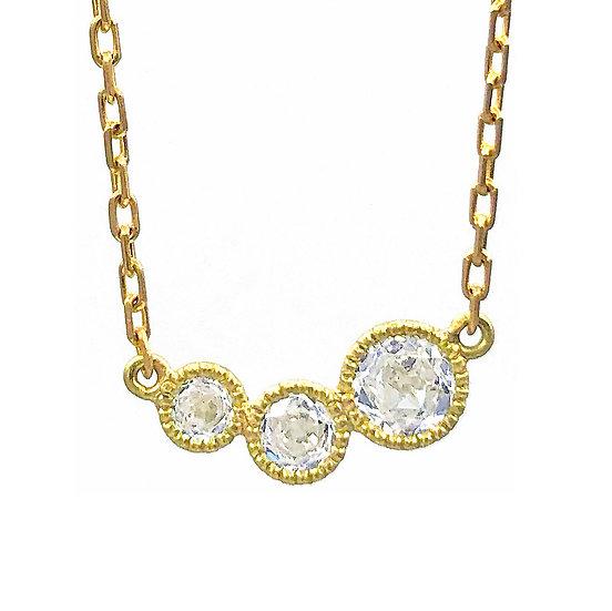 Graduated Three Rose Nouveau Diamond Reversible Necklace |  18k Yellow Gold