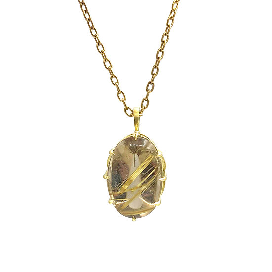 Oval Cabochon Champagne Rutilated Quartz Pendant | 18k Recycled Yellow Gold