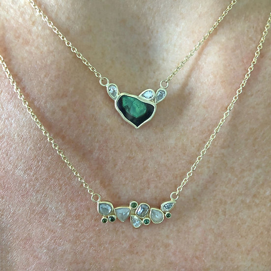 Green Tourmaline and Diamond Necklaces