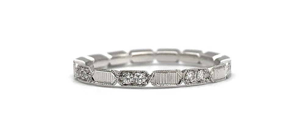 Custom Platinum Diamond Wedding Band with Engraving