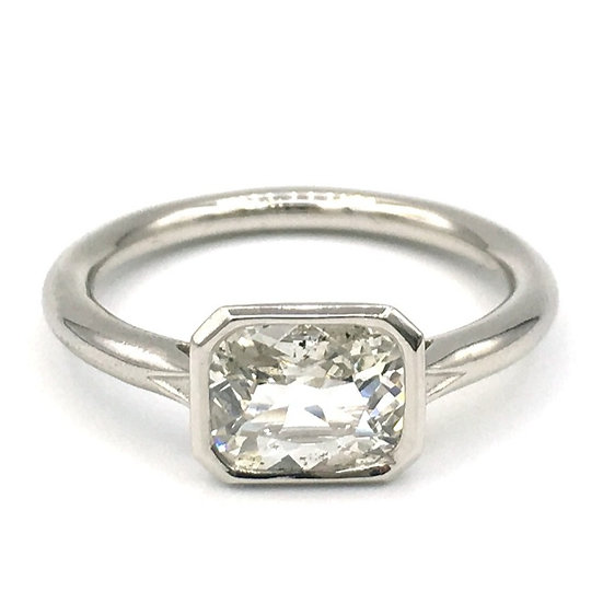Bespoke Antique Cushion Cut Diamond Ring in Platinum Bezel with Engraved Triangle Detail