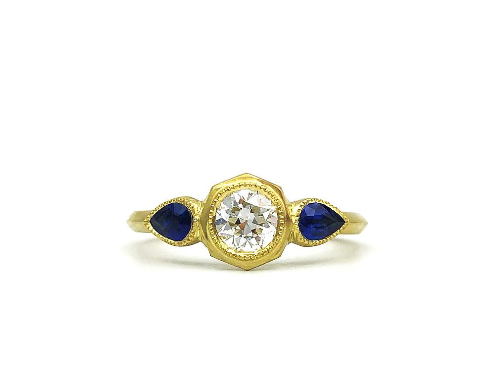 Custom Diamond and Sapphire Engagement Ring