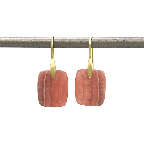 Rhodochrosite Rectangle Earrings | 18k Yellow Gold
