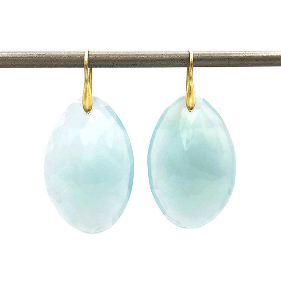 Aqua Chalcedony Earrings | 18k Recycled Yellow Gold