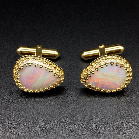 Bespoke Pear-Shaped Australian Opal Cufflinks in 18k Yellow Gold; Sunset Opals