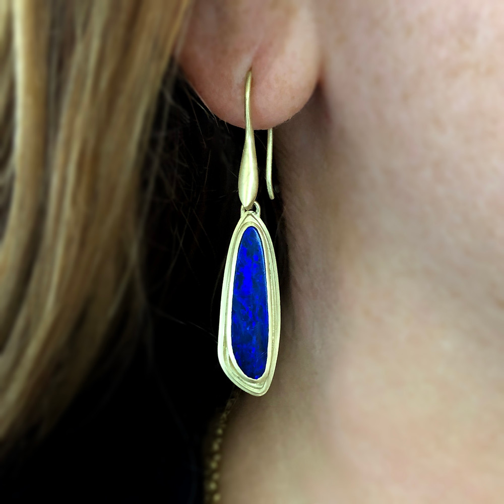 Azores Blue Opal Drop Earrings | 18k Gold