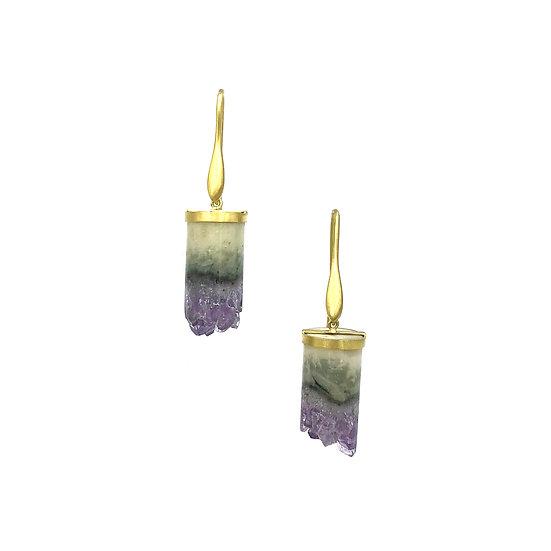 Amethyst Geode Column Earrings | 18k Yellow Gold
