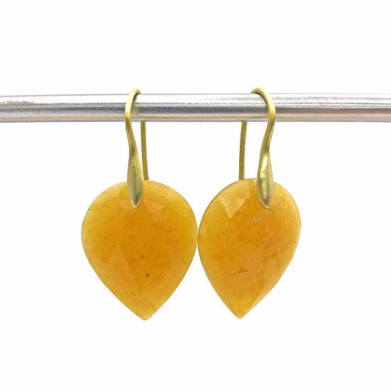 Yellow Sapphire Upside-Down Pear Earrings | 18k Yellow Gold