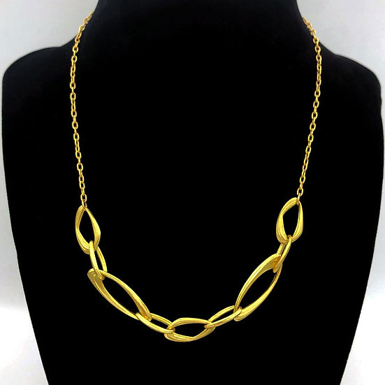 Handmade Chain Necklace in 18k Recycled Yellow Gold 16 inch