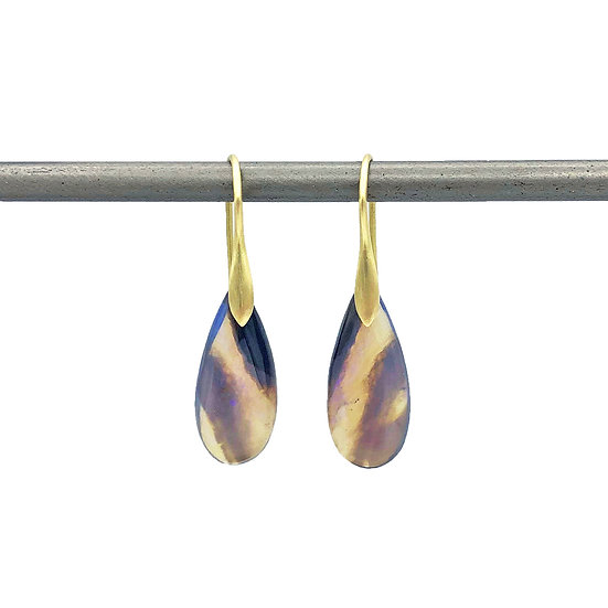 Purple Opal Drop Earrings  | 18k Yellow Gold