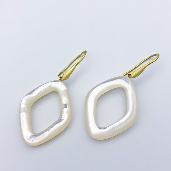Mother-of-Pearl Loop Earrings | 18k Recycled Yellow Gold