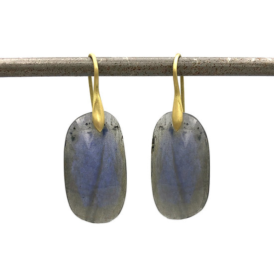 Labradorite Rose Cut Slice Earrings in 18k Recycled Yellow Gold