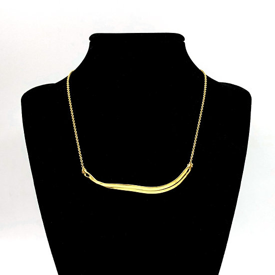 Terraced Ribbon Necklace in 18k Recycled Yellow Gold 15 inches