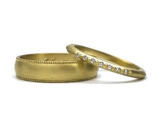 Custom Millegrain Wedding Band Set
