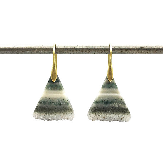 Green Striped Triangle Geode Earrings in 18k Recycled Yellow Gold
