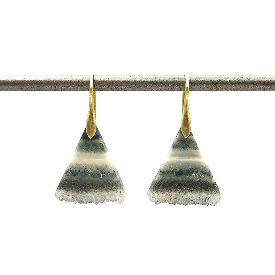 Striped Triangle Geode Earrings | 18k Yellow Gold