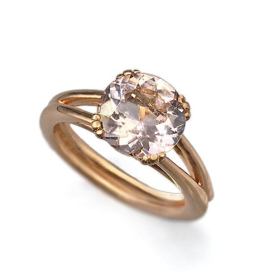 Bespoke Round Morganite Engagement Ring in FairMined 18k Rose Gold with Split Shank Detail