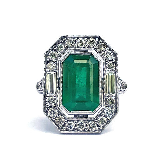 Deco Emerald Ring with Halo and Baguette Detail in Platinum, Emerald Heirloom Redesign Ring