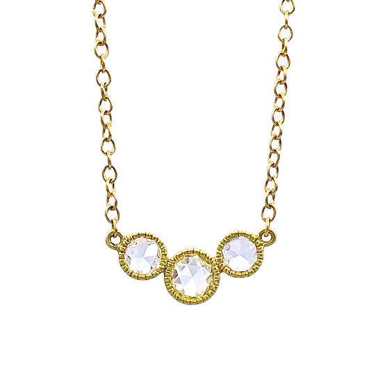 Rose Nouveau Three Diamond Reversible Necklace in 18k Yellow Gold