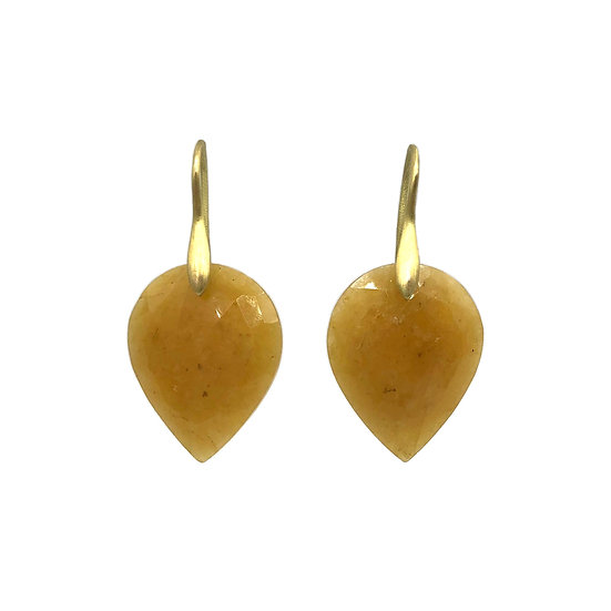 Yellow Sapphire Upside-Down Pear Earrings in 18k Recycled Yellow Gold
