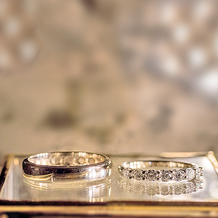 Bespoke Him and Her Wedding Bands in Platinum with Diamond Spray and Unique Engraving