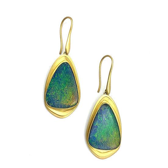 Triangle Blue-Green Australian Opal Earrings in 18k Recycled Yellow Gold