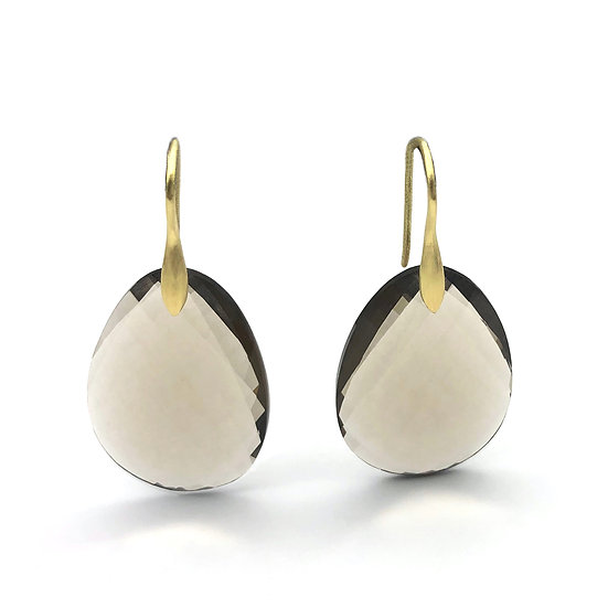 Smoky Quartz Checkerboard Earrings in 18k Recycled Yellow Gold
