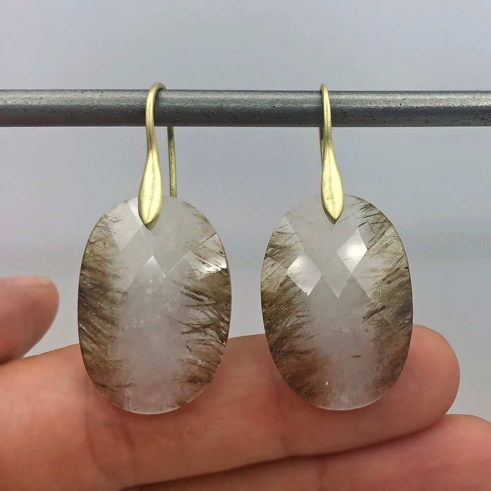 Rutilated Quartz Stripe Earrings | 18k Yellow Gold
