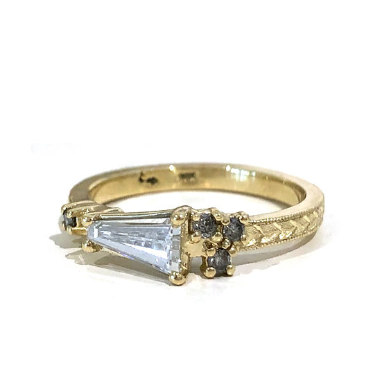 Bespoke Tapered Diamond Baguette Engagement Ring with Sprinkle of Gray Diamonds and Modern Wheat Engraving in 18k