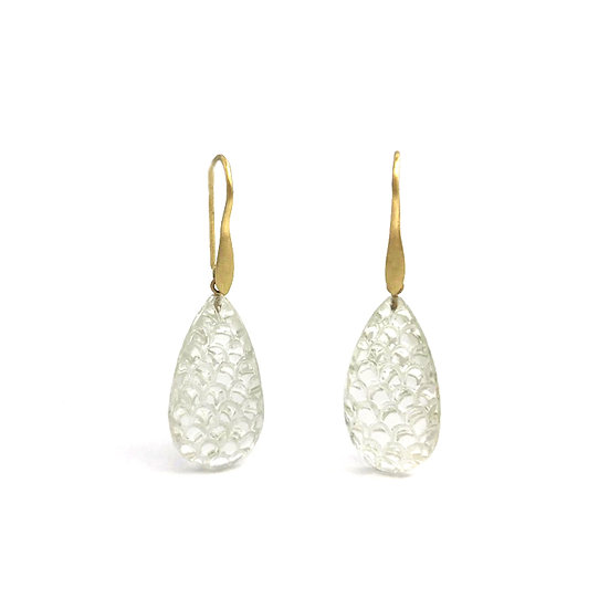 Scallop Pattern Carved Rock Crystal Drop Earrings in 18k Recycled Yellow Gold